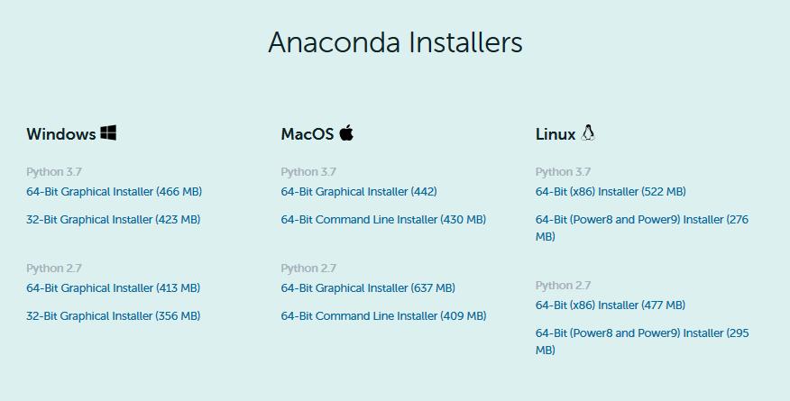 Anacondaのダウンロード画面