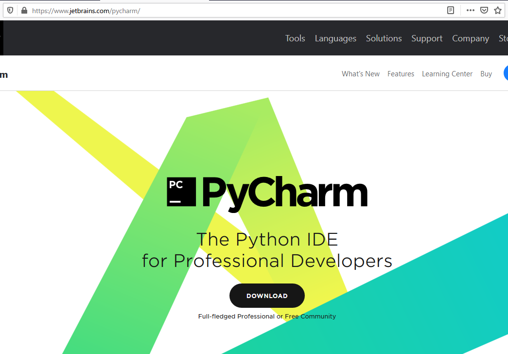 PyCharmのダウンロードページ