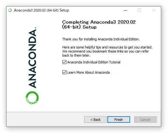 Anacondaのインストール画面(完了後)