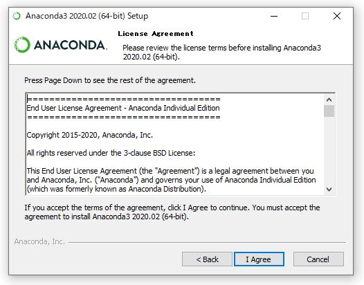 Anacondaのインストール画面(ライセンス)