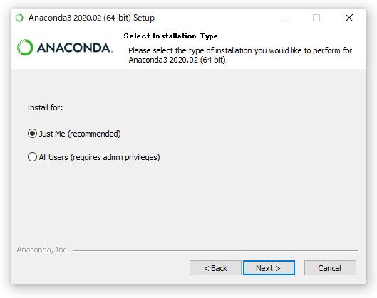 Anacondaのインストール画面(インストールタイプ)