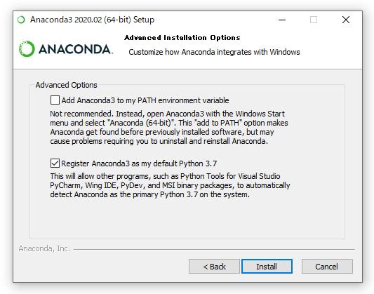 Anacondaのインストール画面(オプション)