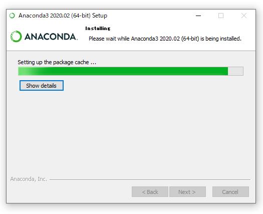 Anacondaのインストール画面(インストール中)
