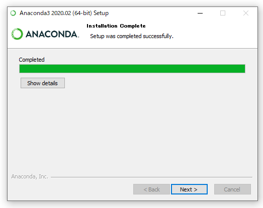 Anacondaのインストール画面(インストール完了)