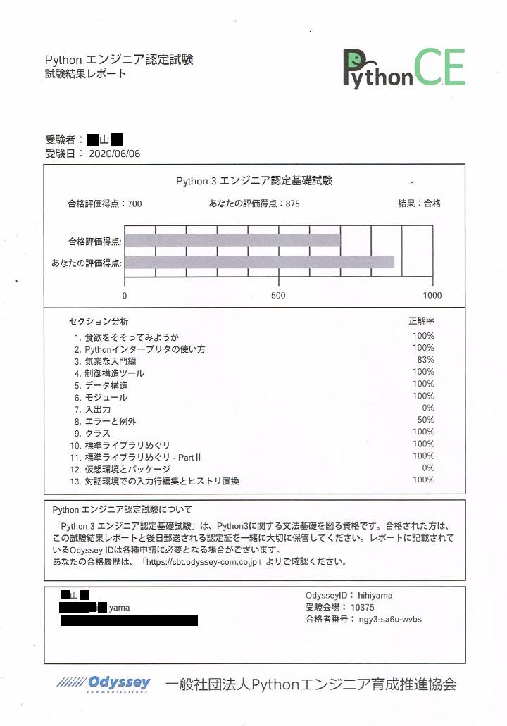 Python3エンジニア認定基礎試験の試験結果レポート